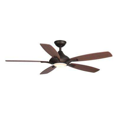 Petersford 52 in. LED Indoor Oil Rubbed Bronze Ceiling Fan with Light Kit and Remote Control