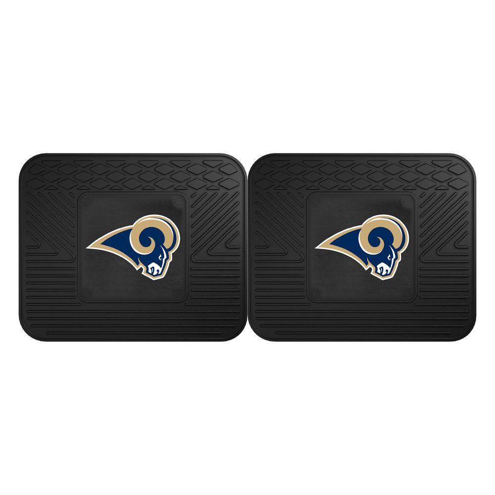 NFL Los Angeles Rams Black Heavy Duty 2-Piece 14 in. x 17 in. Vinyl Utility Mat