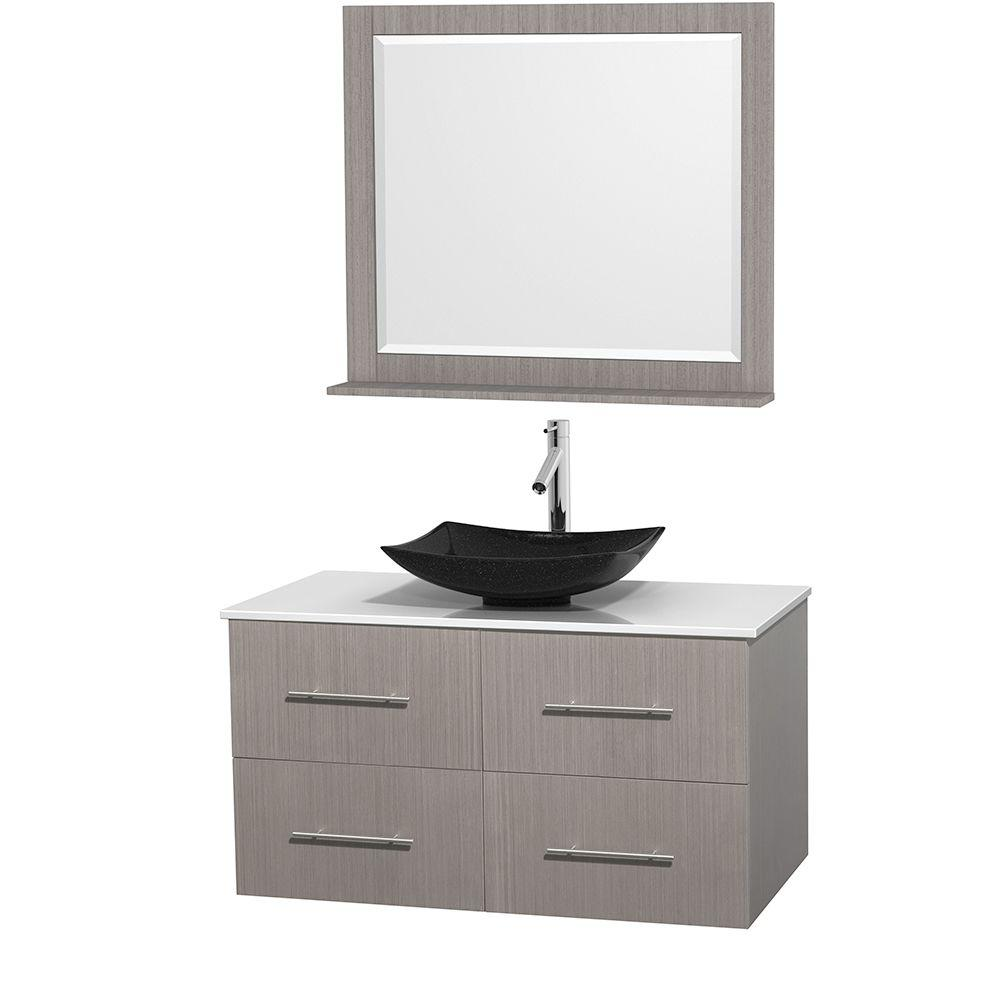 Vanity In Gray Oak With Solid Surface Vanity Top