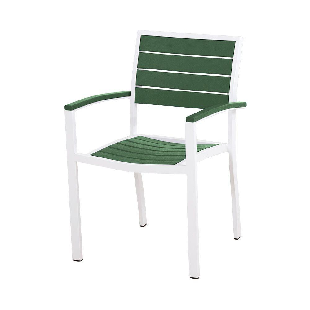 Outdoor Patio Furniture Under 200: POLYWOOD Euro Satin White/Green Patio Dining Chair-A200