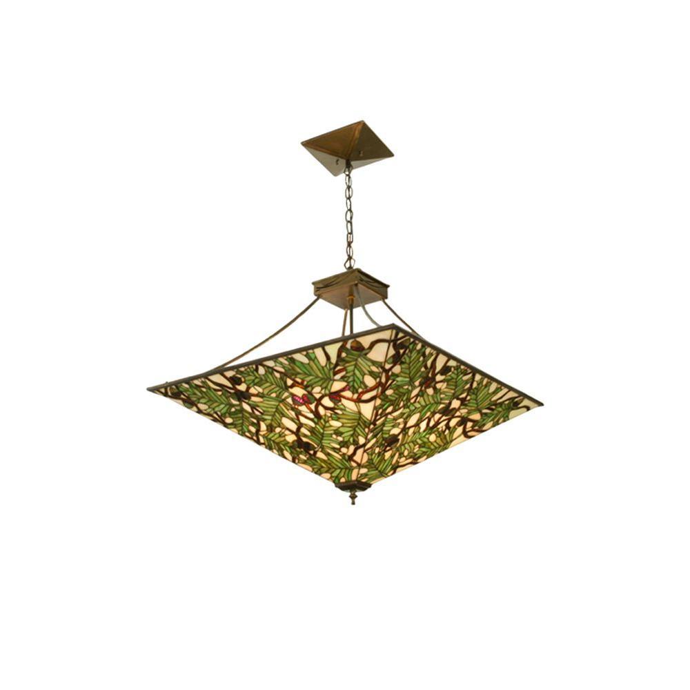 Illumine 4 Light Acorn and Oak Leaf Inverted Pendant