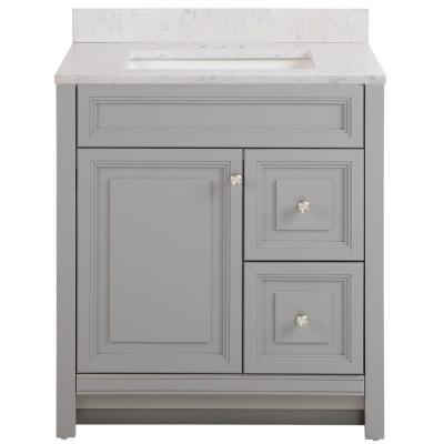 Brinkhill 31 in. W x 22 in. D Bathroom Vanity in Sterling Gray with Stone Effect Vanity Top in Pulsar with White Sink