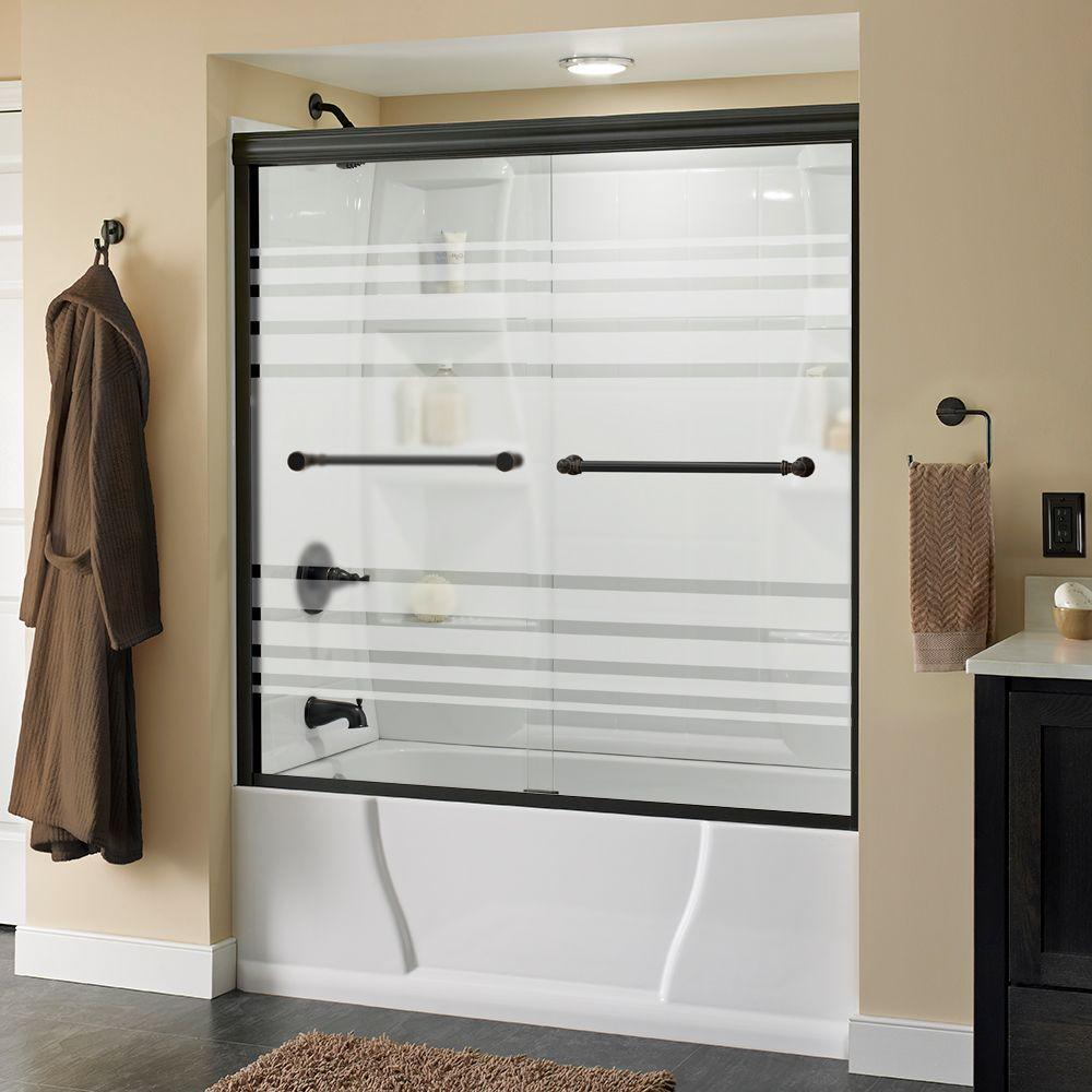 Silverton 60 in. x 58-1/8 in. Semi-Frameless Sliding Bathtub Door in