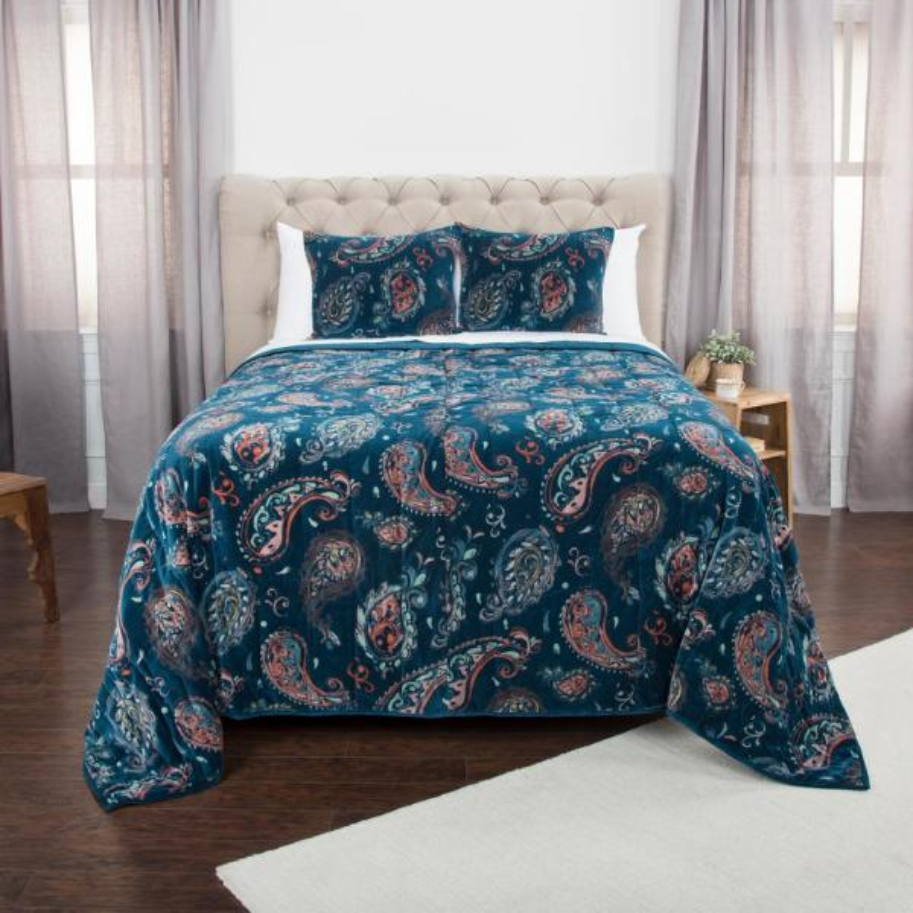 Blue Paisley Cotton King Quilt