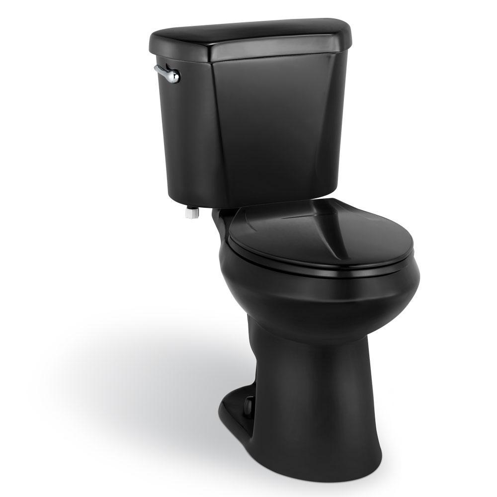 2-piece 1.28 GPF High Efficiency Single Flush Elongated Toilet in Black