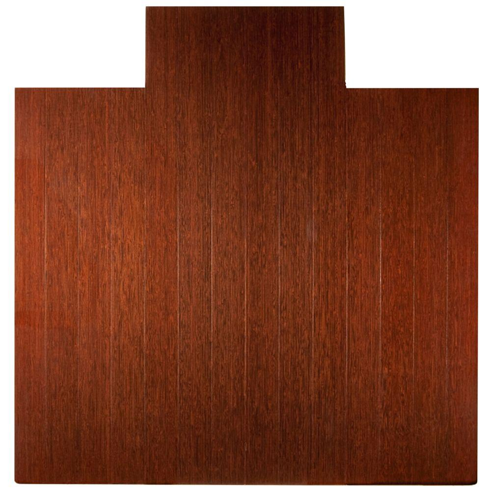 Anji Mountain Deluxe Dark Brown Mahogany 55 in. x 57 in. Bamboo Roll-Up Office Chair Mat with Lip