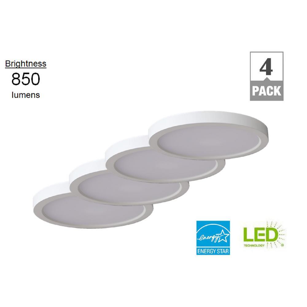 7 in. Round 12.5-Watt White Integrated LED Flush Mount (4-Pack)