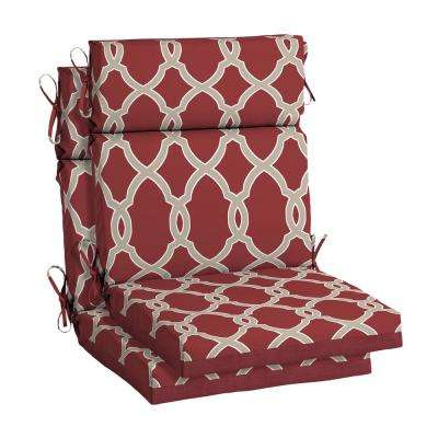 Jeanette Trellis Outdoor High Back Dining Chair Cushion (2-Pack)