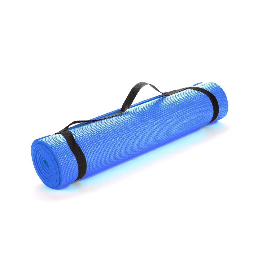 Mind Reader All Purpose Extra Thick Blue Fitness Exercise 24 In X 68 In Yoga Mat With Carrying Strap Yogapvc Blu The Home Depot