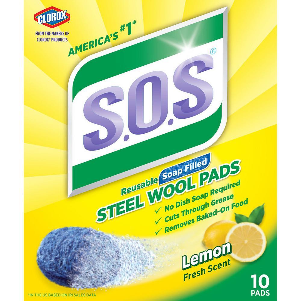 Lemon Fresh Scent Steel Wool Soap Scouring Pads (10-Pack)