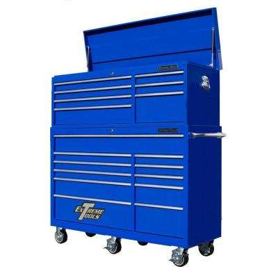 RX Series 56 in. 7-Drawer Top Chest and 11-Drawer Roller Cabinet Combo, Blue