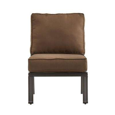 Thoren Aluminum Armless Middle Outdoor Sectional Chair with Brown Cushion