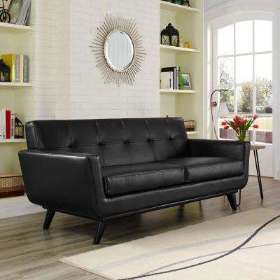 Engage Black Bonded Leather Loveseat