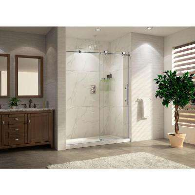 Trident Lux-48 Premium 48 in. W x 76 in. H Frameless Sliding Shower Door in Brush-Nickel with Tempered Clear Glass