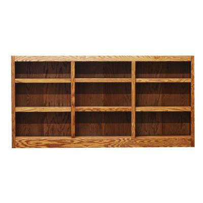 36 in. Dry Oak Wood 9-shelf Standard Bookcase with Adjustable Shelves