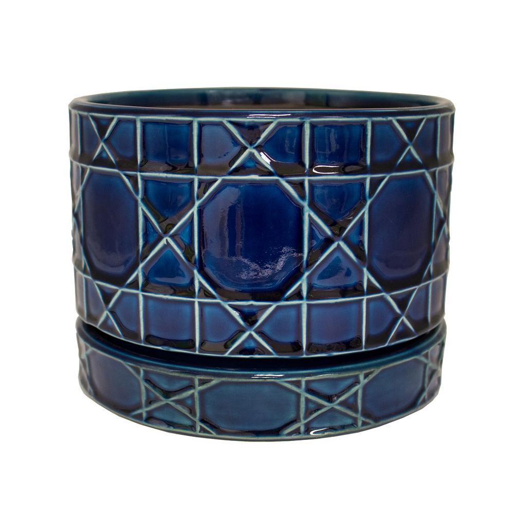 8.5 in. Dia Cobalt Blue Carlysle Ceramic Bowl Planter
