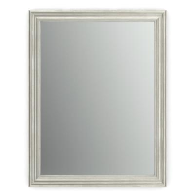 23 in. x 33 in. (S2) Rectangular Framed Mirror with Standard Glass and Easy-Cleat Flush Mount Hardware in Vintage Nickel