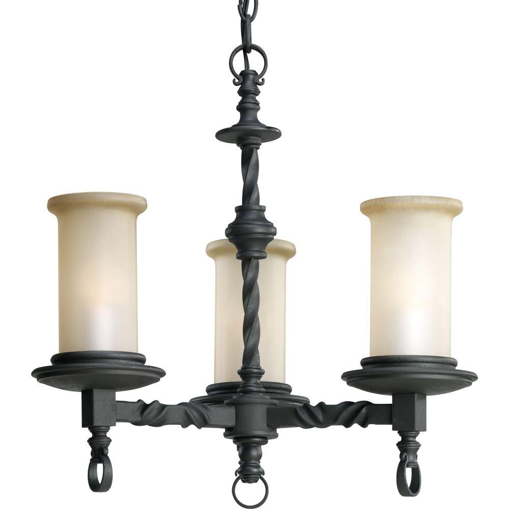 Progress Lighting Santiago Collection 3-Light Forged Black Chandelier with Jasmine Mist Glass