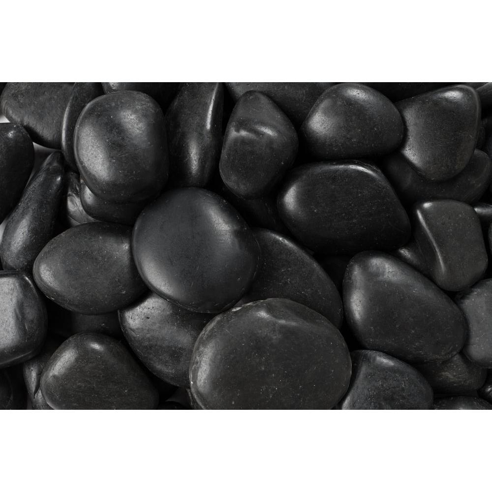 Rain Forest 20 lb. Grade A Black Polished Pebbles 1 in. to 2 in.