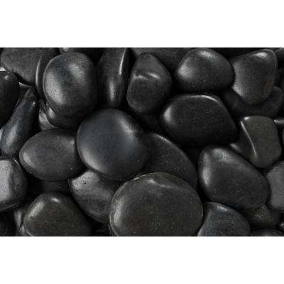 20 lb. Grade A Black Polished Pebbles 1 in. to 2 in.