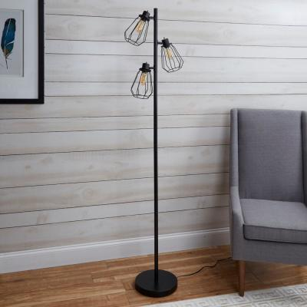 York Industrial Tree 72 in. Black Floor Lamp with Shade