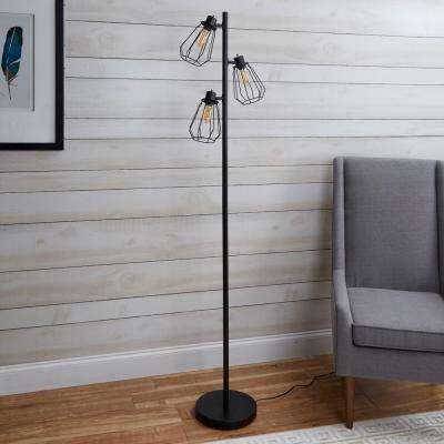 York Industrial Tree 72 in. Black Floor Lamp with Shade
