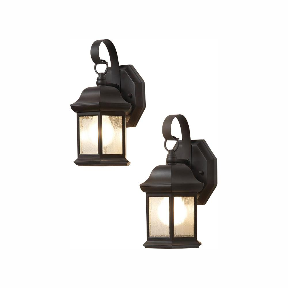 Hampton Bay 1 Light Bronze Outdoor Wall Lantern Sconce With Seeded Gl 2 Pack