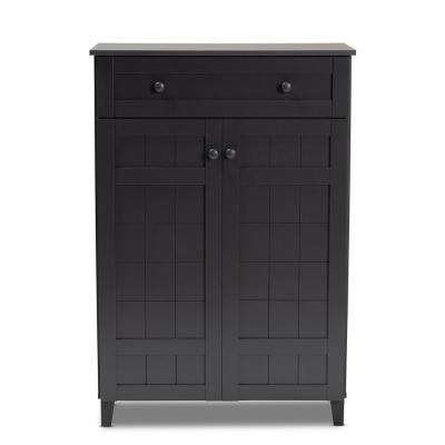 Glidden 45 in. H x 31 in. W 15-Pair Gray Wood Shoe Storage Cabinet