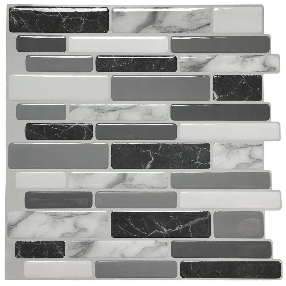 12 in. x 12 in. x 0.6 in. Peel and Stick Vinyl Backsplash Tile in Grey Marble Design (6-Pack)