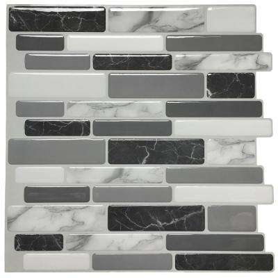 12 in. x 12 in. x 0.6 in. Peel and Stick Vinyl Backsplash Tile in Grey Marble Design (6-Pack)