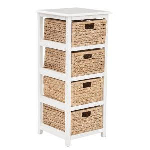 Seabrook White 4-Tier Storage Unit with Natural Baskets
