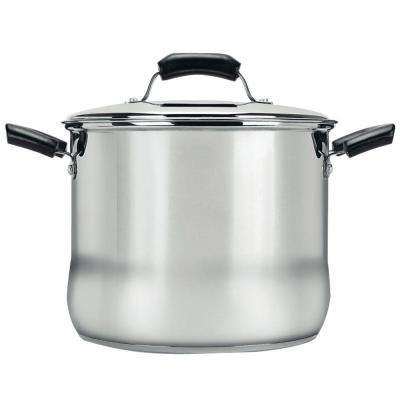Basics 8 Qt. Stock Pot with Lid in Stainless Steel (Set of 2)