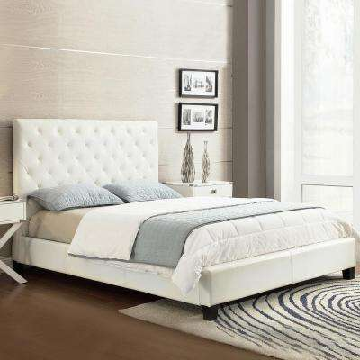 Calais White Queen Upholstered Bed