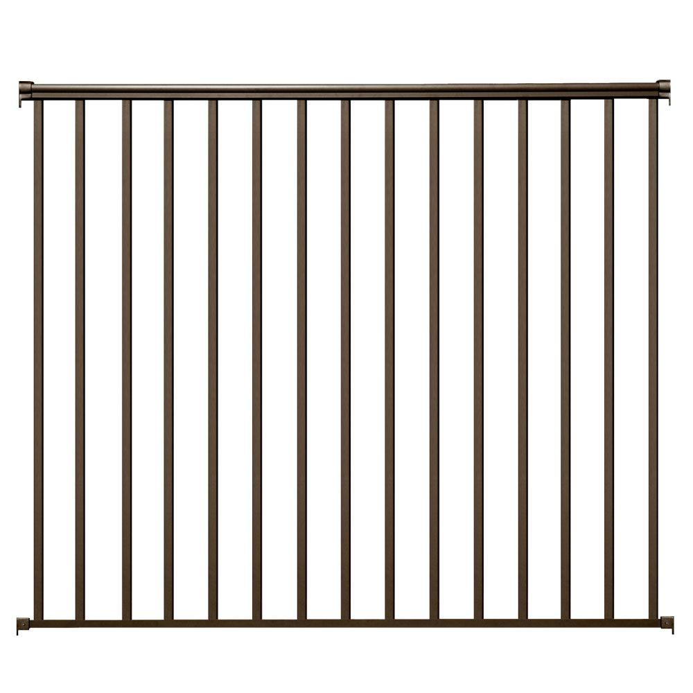 6 ft. x 54 in. Bronze Aluminum Fence Panel Kit with 1 in....