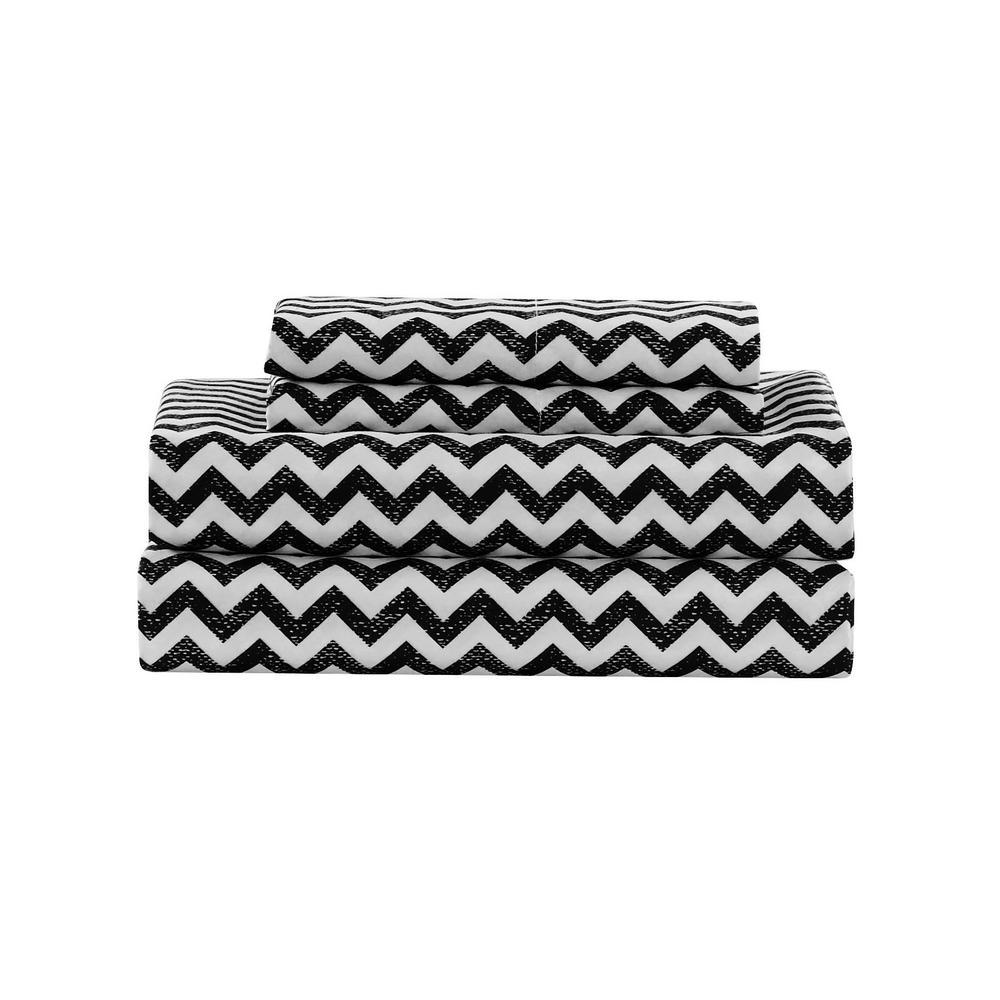 Casey Chevron Micro Black Full Sheet Set