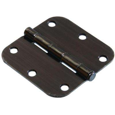 3-1/2 in. Pewter Residential Door Hinge with 5/8 in. Round Corner Removable Pin Full Mortise (5-Pack)