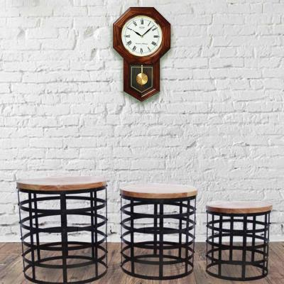 Black and Brown Round Nesting Coffee Tables with Caged Metal Base (Set of 3)