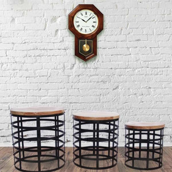 Benzara Black and Brown Round Nesting Coffee Tables with Caged Metal