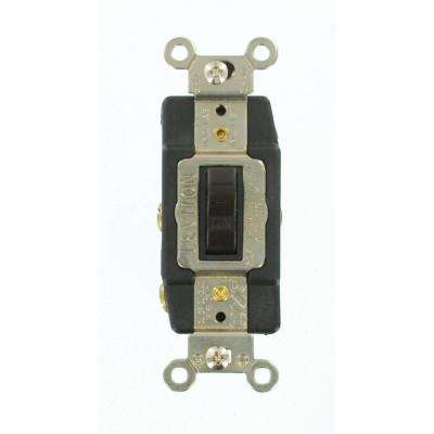 30 Amp Industrial Grade Heavy Duty Double-Pole Double-Throw Center-Off Maintained Contact Toggle Switch, Brown