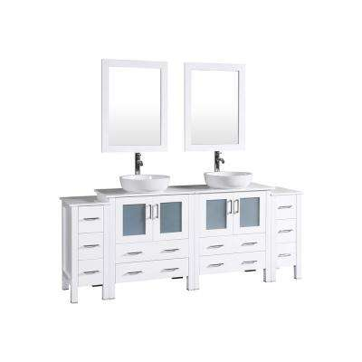 84 in. W Double Bath Vanity in White with Pheonix Stone Vanity Top with White Basin, Polished Chrome Faucet and Mirror