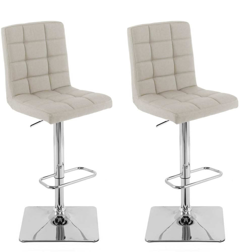 Adjustable Height Oatmeal Square Tufted Fabric Bar Stool (Set of 2)