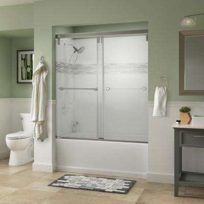 Lyndall 60 in. x 59-1/4 in. Semi-Frameless Mod Sliding Bathtub Door in Chrome with 3/8 in. (10mm) Niebla Glass