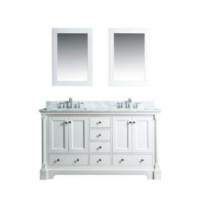 Olivia 60 in. W x 22 in. D Vanity in White with Marble Vanity Top in White with White Basin