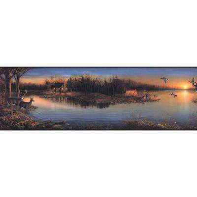 Lake Forest Lodge Tranquil Evening Wallpaper Border