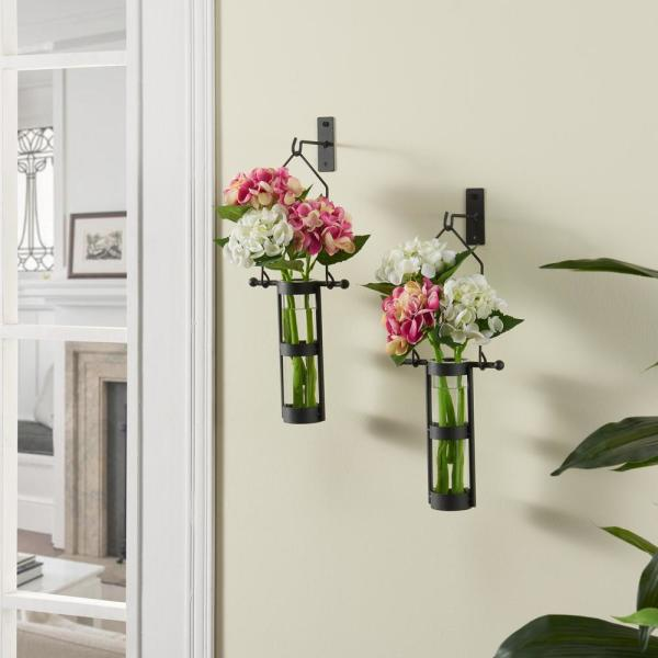 DANYA B Urbanne Rustic Black Metal Wall Mount Hanging Glass Cylinder