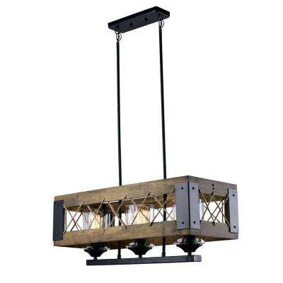 3-Light Black Wood Chandelier with Clear Glass Shade