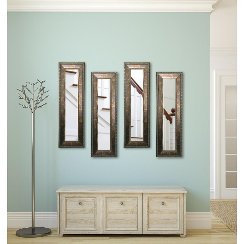 11.5 inch x 29.5 inch Roman Copper Bronze Vanity Mirror (Set of 4-Panels) by