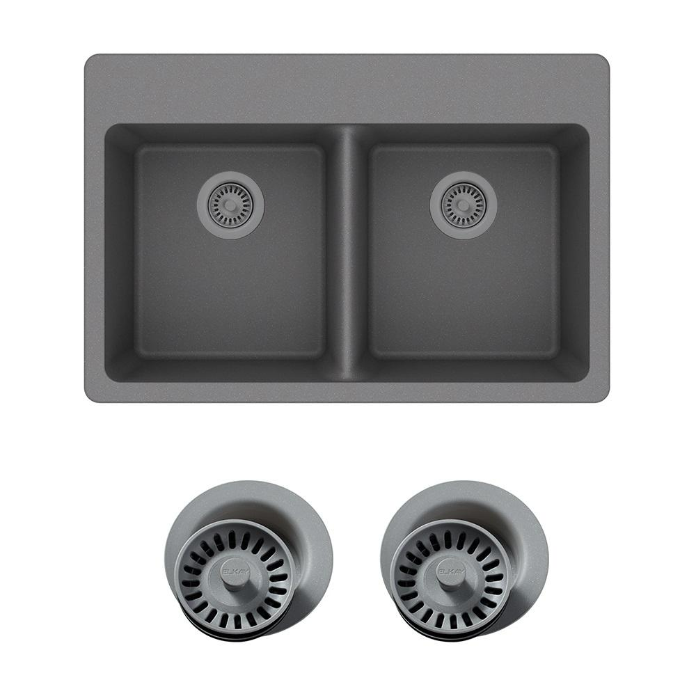 Elkay Quartz Classic Drop-In Composite 33 in. Double Bowl Kitchen Sink in  Greystone with Color Match Drain