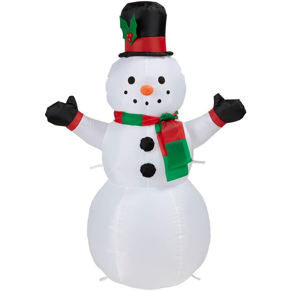 Home accents holiday 42 in h inflatable outdoor snowman for Inflatable christmas decorations home depot
