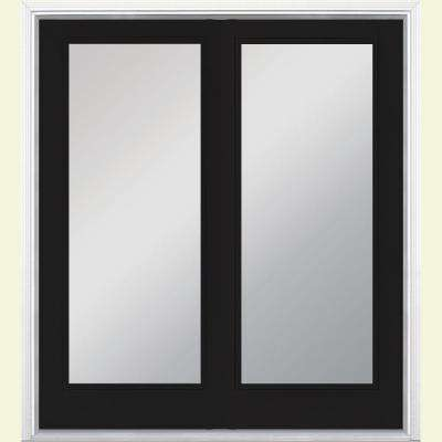 60 in. x 80 in. Jet Black Steel Prehung Left-Hand Inswing Full Lite Clear Glass Patio Door with Brickmold, Vinyl Frame